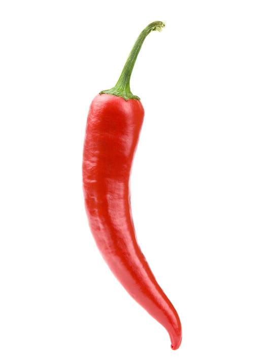 Red chili pepper on white background clipping path