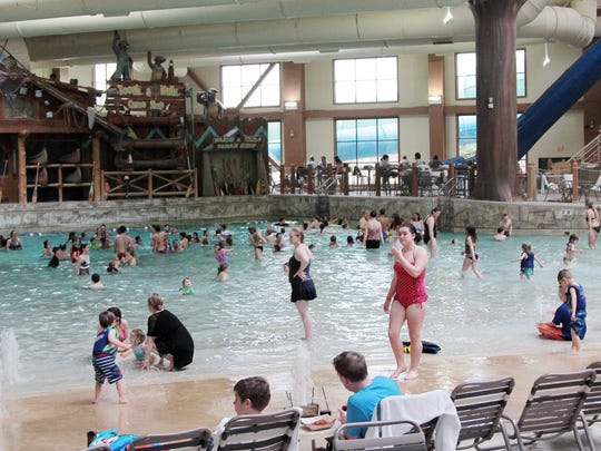 Families staying at the Great Wolf Lodge in Mason enjoy the watery fun.