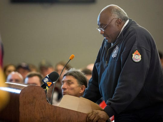 Muncie Fire Chief Eddie Bell addresses Muncie City Council at a 2018 meeting.
