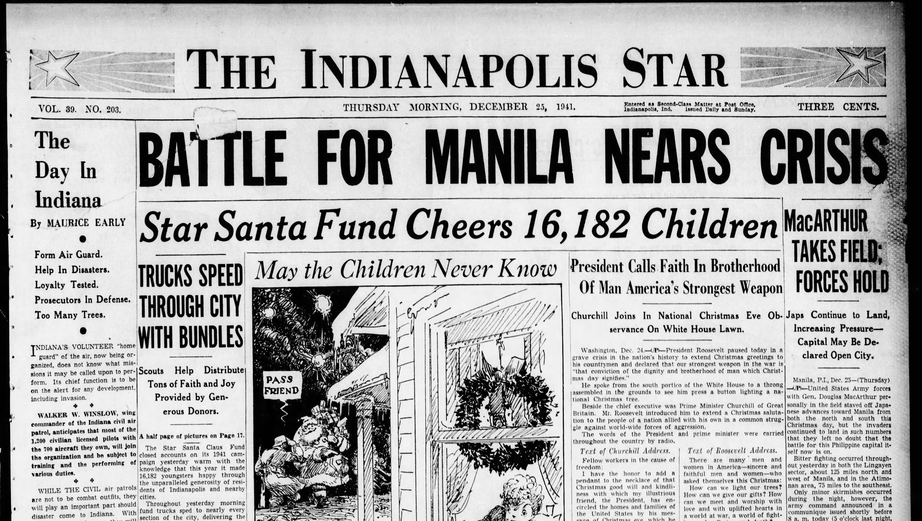 War Headlined 1941 Christmas Day Newspapers