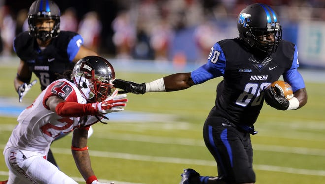 MTSU receiver Ed Batties (80) will play in his final game against Western Kentucky Saturday. Batties ranks second in the country with (eight) touchdown receptions.