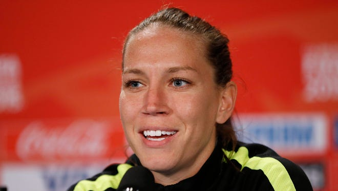 Jul 4, 2015; Vancouver, BC, CAN; United States midfielder Lauren Holiday responds to a question during a press conference after a training session for the 2015 Women's World Cup at B.C. Place.