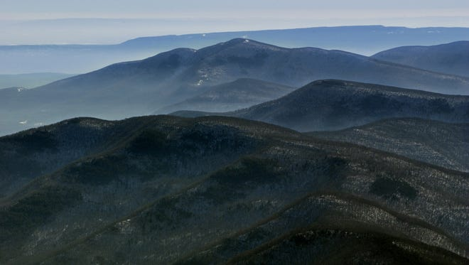 The Catskill Mountains, foreground to back, Romer Mountain, Mount Pleasant, Samuels Point, Ashokan High Point and the Shawangunks. This aerial photo was taken from about 5,500 feet on Feb. 2, 2004. Photo by Lee Ferris