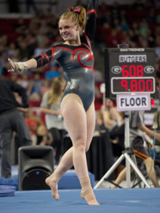 Rising senior Sara Skammer was named Rutgers' Most Improved gymnast by the team as she notched career highs in three events last season. (Courtesy of Rutgers athletics communications)