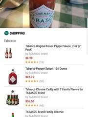 Bixby Vision shows you where to buy Tabasco sauce