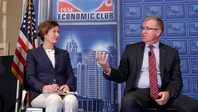 Ellen Hughes-Cromwick, interim associate director for social science and policy at the University of Michigan Energy Institute, and Jeff Mason, president and CEO for the Michigan Economic Development Corp. agreed that the outlook for Michigan is strong, as part of their discussion at the Detroit Economic Club in Detroit on Thursday.