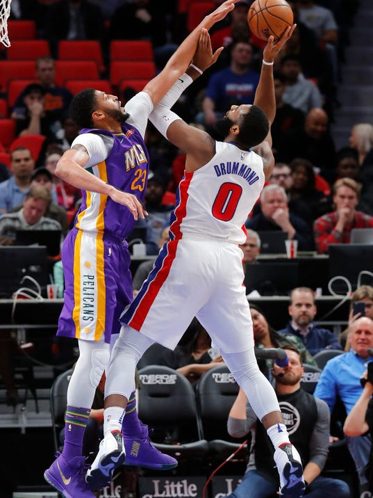 New Orleans Pelicans forward Anthony Davis (23) blocks a Detroit Pistons center Andre Drummond (0) shot in the second half of an NBA basketball game in Detroit, Monday, Feb. 12, 2018. (AP Photo/Paul Sancya)