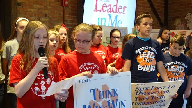 """Elementary students from across Crawford County displayed their leadership skills during the county's 2017 """"State of the Vision"""" banquet."""