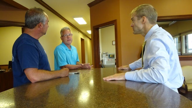 U.S. Rep. Jim Jordan visited Monday with managers of Morral Companies in Marion.