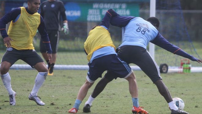 NYCFC players train Friday, Jan. 30 at FGCU in an the only open session before media and fans prior to a friendly Sunday, Jan. 31 against FGCU.