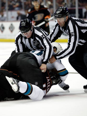Officials try to break up a fight between San Jose's