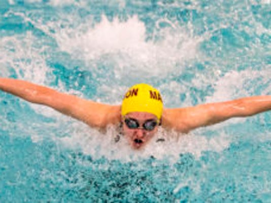Madison sophomore Laurel Carey swims the butterfly lap of the Morris County Championships. (Warren Westura/Correspondent)