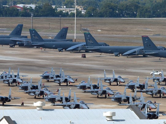Barksdale AFB is hosting assets from several military installations currently being effected by Hurricane Matthew. Joining Barksdale's own B-52's on the flight line are F-15's from Seymour Johnson AFB, C-17's from Charleston and F16's from Shaw AFB