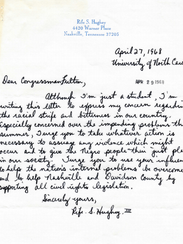 Rife Hughey's 1968 letter to then Congressman (and