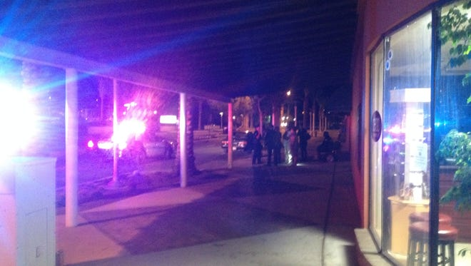 A man collided with a car Tuesday evening in Desert Hot Springs.