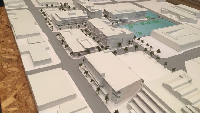 A model of the Palm Springs Redevelopment. The building in the lower right-hand corner is the existing Hyatt Palm Springs.