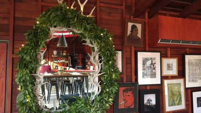 The barn at the Sparrows Lodge in Palm Springs is decorated for the Christmas holidays.