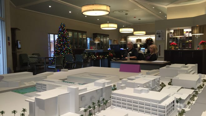 """A scale model of the redevelopment of downtown Palm Springs on display at the Welwood-Murray Memorial Library. The City Council will meet in a """"study session"""" meeting Wednesday to discuss the plan guiding the redevelopment."""