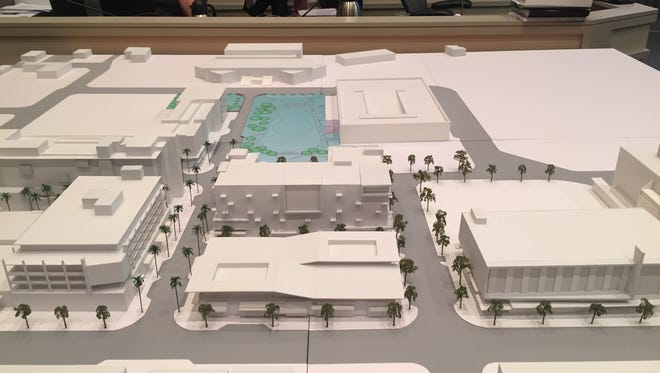 In this model of the downtown Palm Springs redevelopment, the proposed Virgin Hotel is the six-story building in the center, with the city's new downtown park planned just behind it.