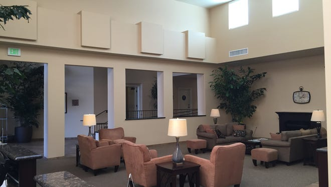 The new and expanded lobby in the Palm Mountain Resort and Spa in Palm Springs is part of a renovation of the downtown hotel.