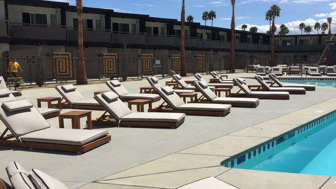 New patio furniture is arranged around the new pool at the V Palm Springs, the city's newest renovated hotel property, in anticipation of the Friday opening.