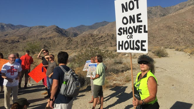 A rally to raise support to protect Os Wit Canyon in south Palm Springs from development drew several hundred people in June 2016. A petition drive to have the voters decide if the area should be rezoned gathered more than 4,000 qualified signatures.