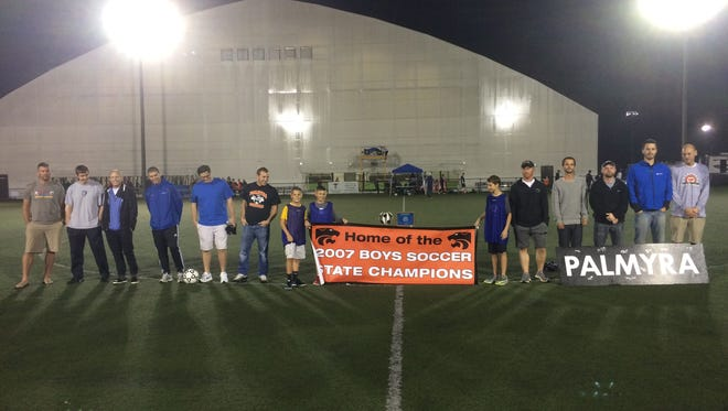 The members of the 2007 Palmyra boys soccer team celebrated the 10th anniversary of their Class AA state championship on Thursday night at In The Net.