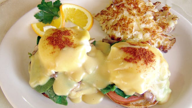 A classic eggs Benedict from EJ's Bayfront Cafe, which opened in 2012.