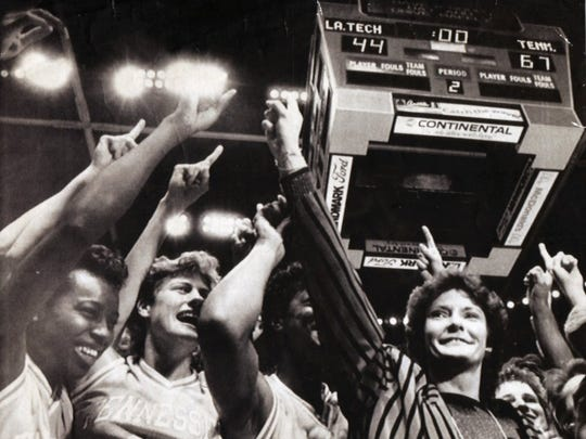 Pat Summitt leads the cheers after winning the women's NCAA National Championship 67-44 against Louisiana Tech in Austin, Texas in 1987. This was Summitt's first national championship. The Lady Vols coach went on to win seven more.