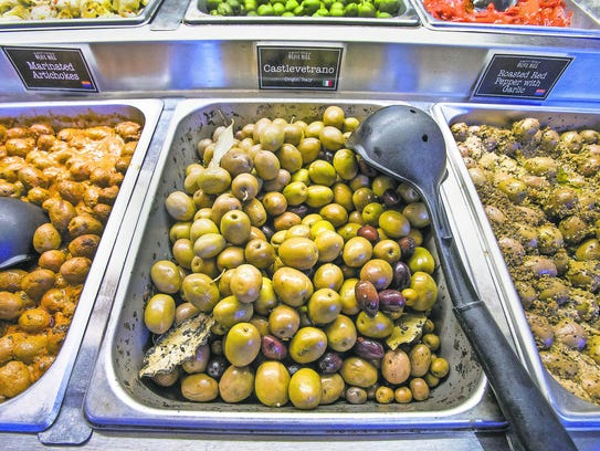 This is the olive bar inside the store at the Queen