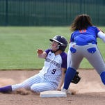 Spanish Springs' Kayleen Garrick gets tagged out at second by Reno's Hannah Flynn in Thursday's game at Spanish Springs.