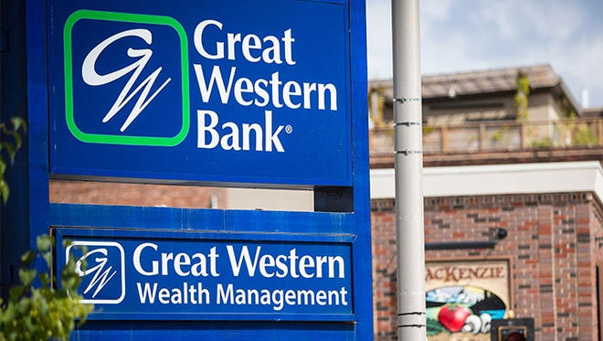 Great Western Bank sign in downtown Sioux Falls.