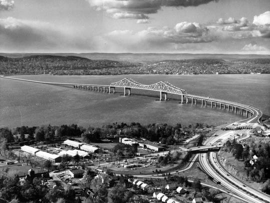 Historic photograph of the building of the Tappan Zee