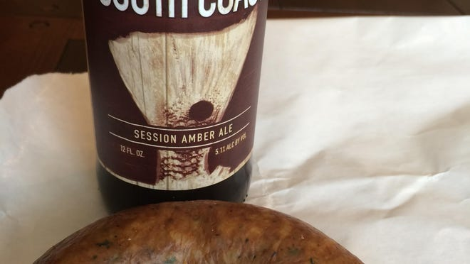 The boudin in areas surrounding Lafayette is seasoned with salt and black and cayenne pepper. The Amber from Parish is a nice accompaniment to any of these.