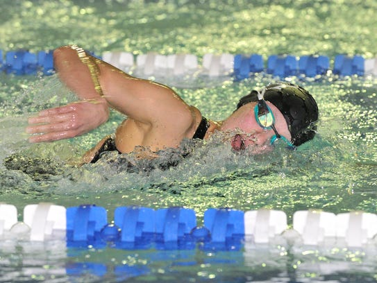 Sam Chin of Northern Highlands swims in the 500 Freestyle