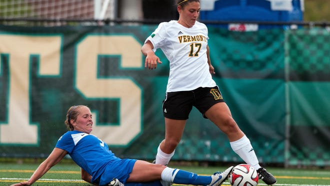 Vermont's Nikki McFarland, shown here in a game last season, had a goal in UVM's loss to the Siena Saints.