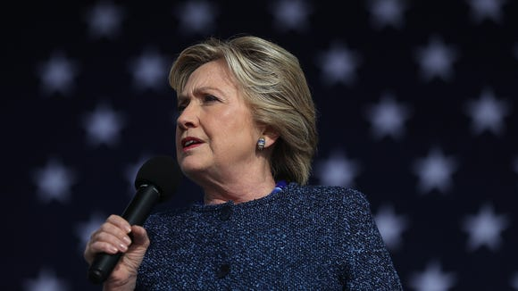Hillary Clinton speaks during a campaign rally on Oct.