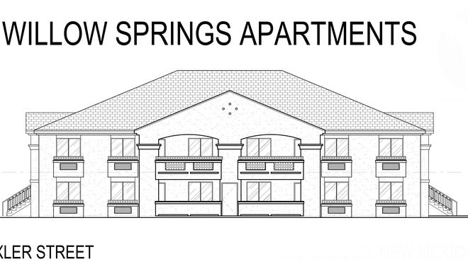 An architect's rendering of a Willow Springs Apartments building.