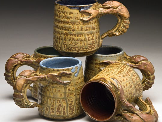 Wortman Pottery's crawfish mugs will be featured at