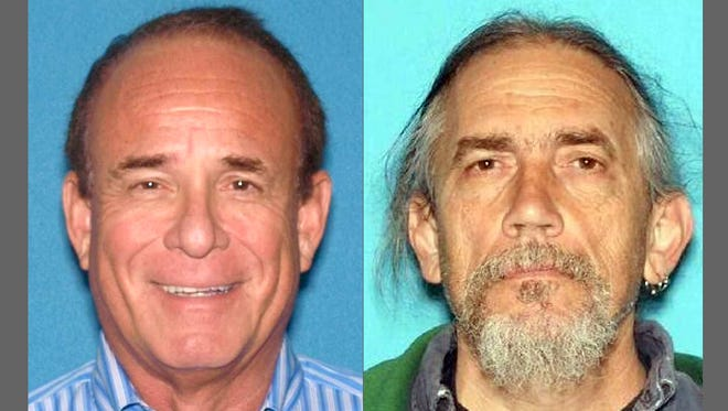 James Kauffman (left) a South Jersey doctor accused of ordering his wife's murder, was himself the target of a death plot, authorities say. Ferdinand Augello (right) allegedly tried to arrange the slaying of Kauffman.