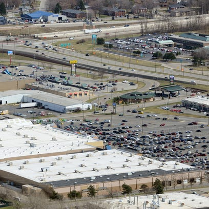 Businesses including Festival Foods, top left, Walmart and Sam's Club, center, at the northwest corner of Interstate 41 and West Mason Street, are located on Oneida Tribe of Indians reservation land overlapping the city of Green Bay.