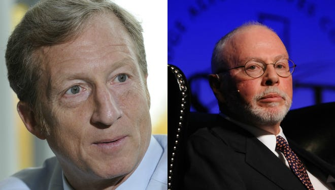 Tom Steyer (left) gave heavily to Democrats in the 2014 federal midterm elections, while Paul Singer (right) gave to Republicans.
