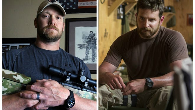 Left: Chris Kyle poses in 2012. Right: Bradley Cooper portrays Kyle in 'American Sniper.'