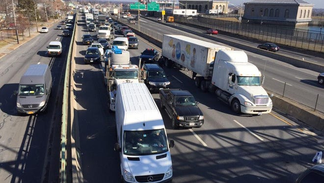 Traffic was backed up for miles on the southbound New York State Thruway (I-87) in Yonkers shortly after noon Friday due to an accident.