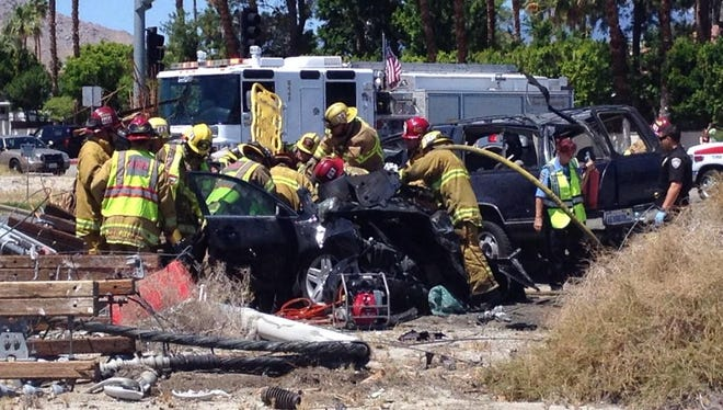Firefighters respond to a serious crash at Indian Canyon Drive and Racquet Club Road.