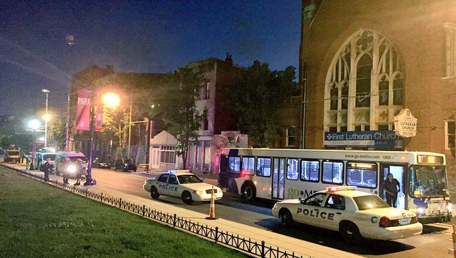 A man shot in Over-the-Rhine early today, ran onto a Metro bus to escape the shooters.