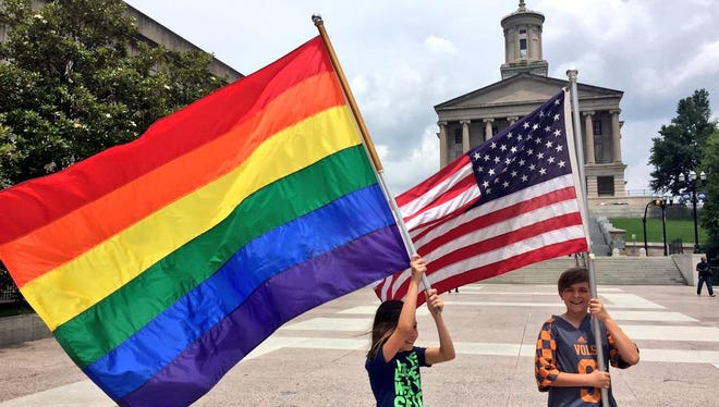 Gay marriage supporters rally at the Tennessee State Capitol.