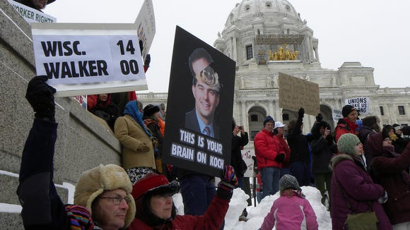 Anti-Walker protesters in Minnesota, showing solidarity
