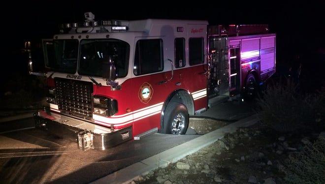 A Rural Metro firetruck got stuck in a sinkhole in Fountain Hills Tuesday night.