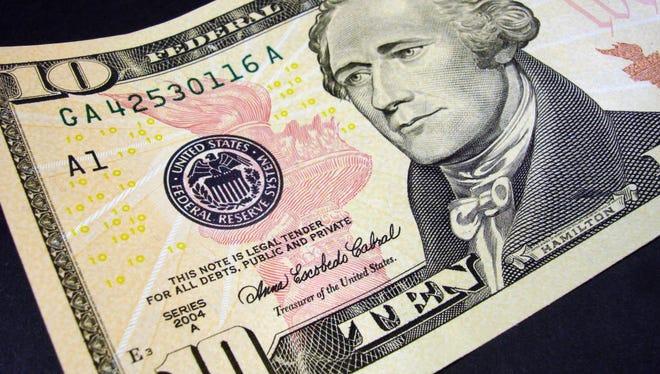 New USA Ten Dollar Bill Close Up